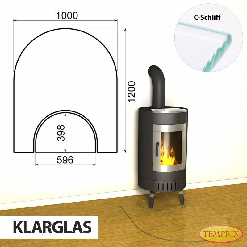 Temprix Funkenschutz & Glasbodenplatte   geteilte Bodenplatte für Kamin & Ofen