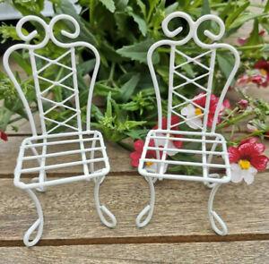 Détails sur 2 x maison de poupée miniature chaises Crème Meubles Mobilier  de jardin Métal 1:12 Vintage Blanc- afficher le titre d\'origine