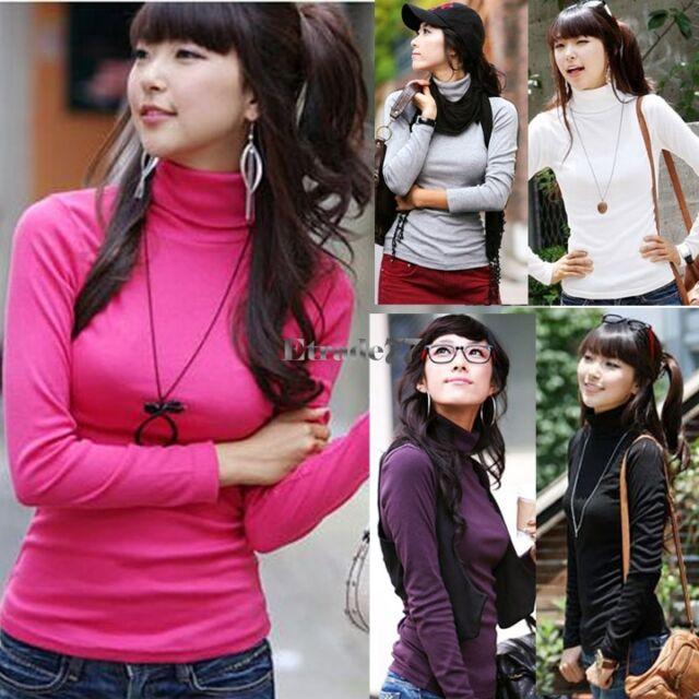 New Women's Milk silk Turtleneck Long-sleeve T-shirt Tops Blouse Pullovers EA77