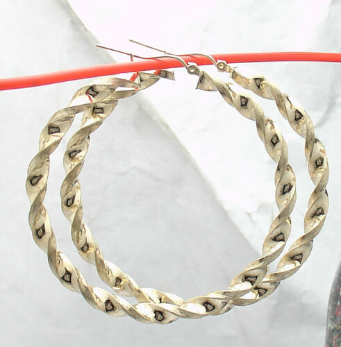 """2/"""" Full Twisted Round Hoop Earrings REAL 10K Yellow Gold 5mm X 52mm"""