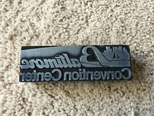 Antique Wooden Type Printing Block Baltimore Convention Center 4 Long