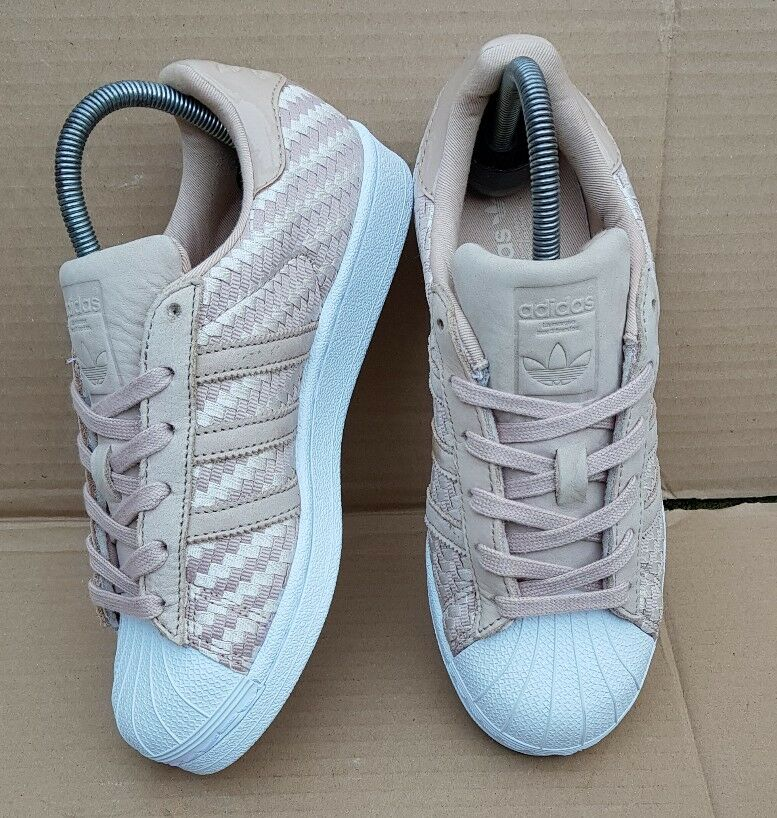 Adidas Superstar Nude tissé Weave Baskets taille 4 UK Immaculate Condition-