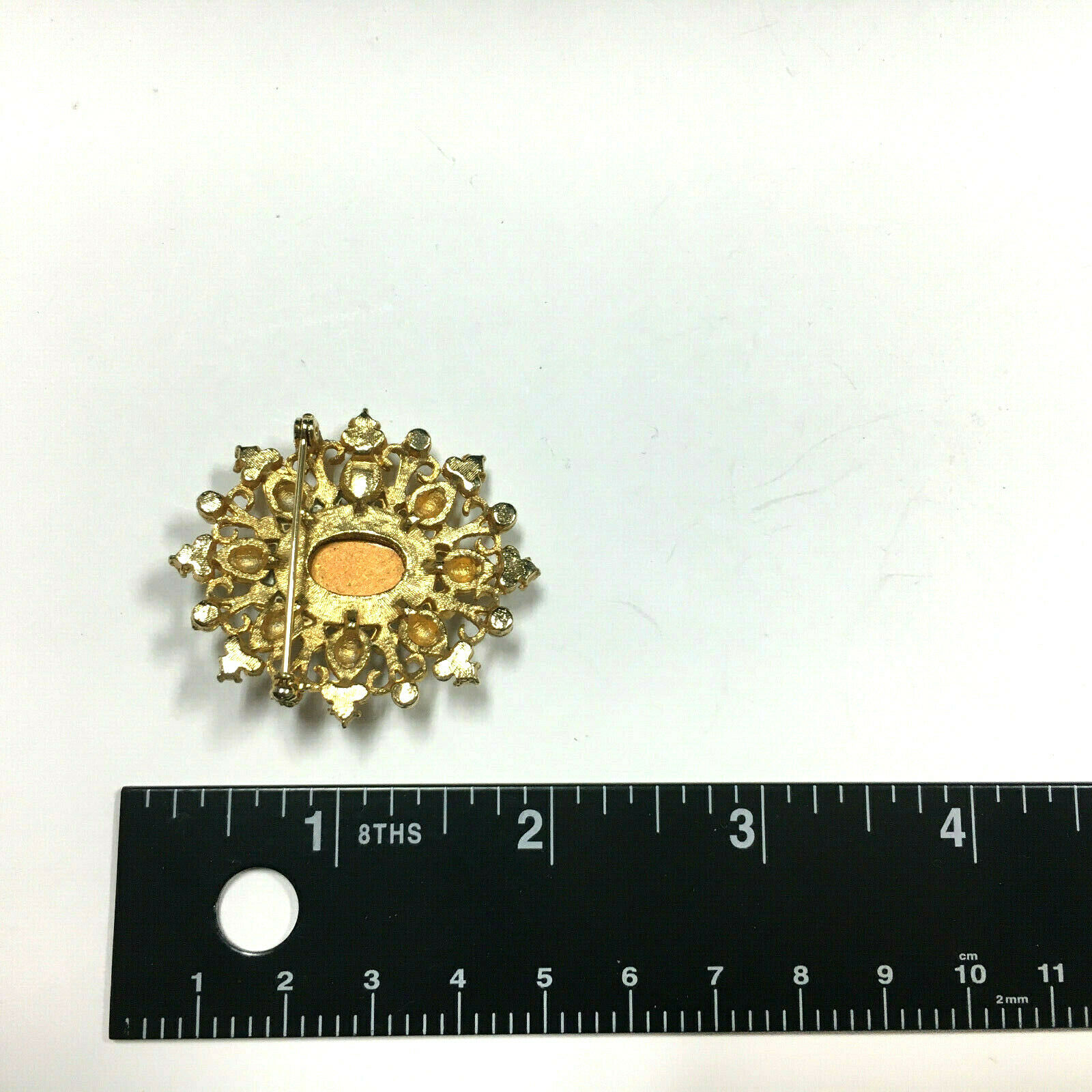 Vintage VICTORIAN STYLE Pearl & Red Cabochon Broo… - image 5