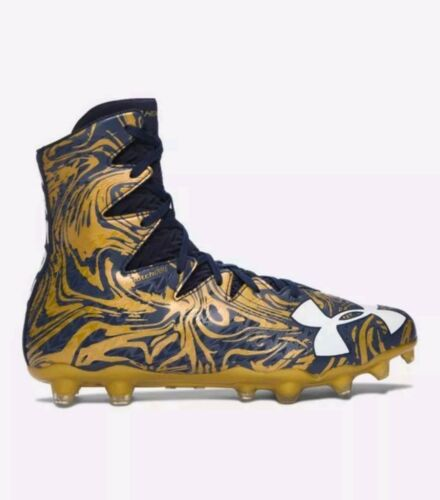 UNDER ARMOUR HIGHLIGHT LUX MC FOOTBALL CLEATS Navy Gold Rush 1297953 420 $130