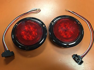 """2 RED LED 4"""" Round Truck Trailer Brake Stop Turn Tail Lights With Red LENS"""