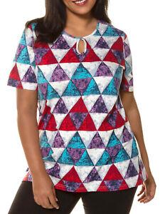Kurzarm-Shirt-Longshirt-T-Shirt-Tunika-bunt-Ulla-Popken-Gr-50-52-54-56-58-60