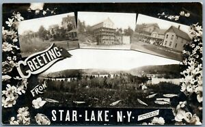 STAR-LAKE-NY-VIEWS-FISHING-1914-ANTIQUE-REAL-PHOTO-POSTCARD-RPPC-by-H-M-BEACH