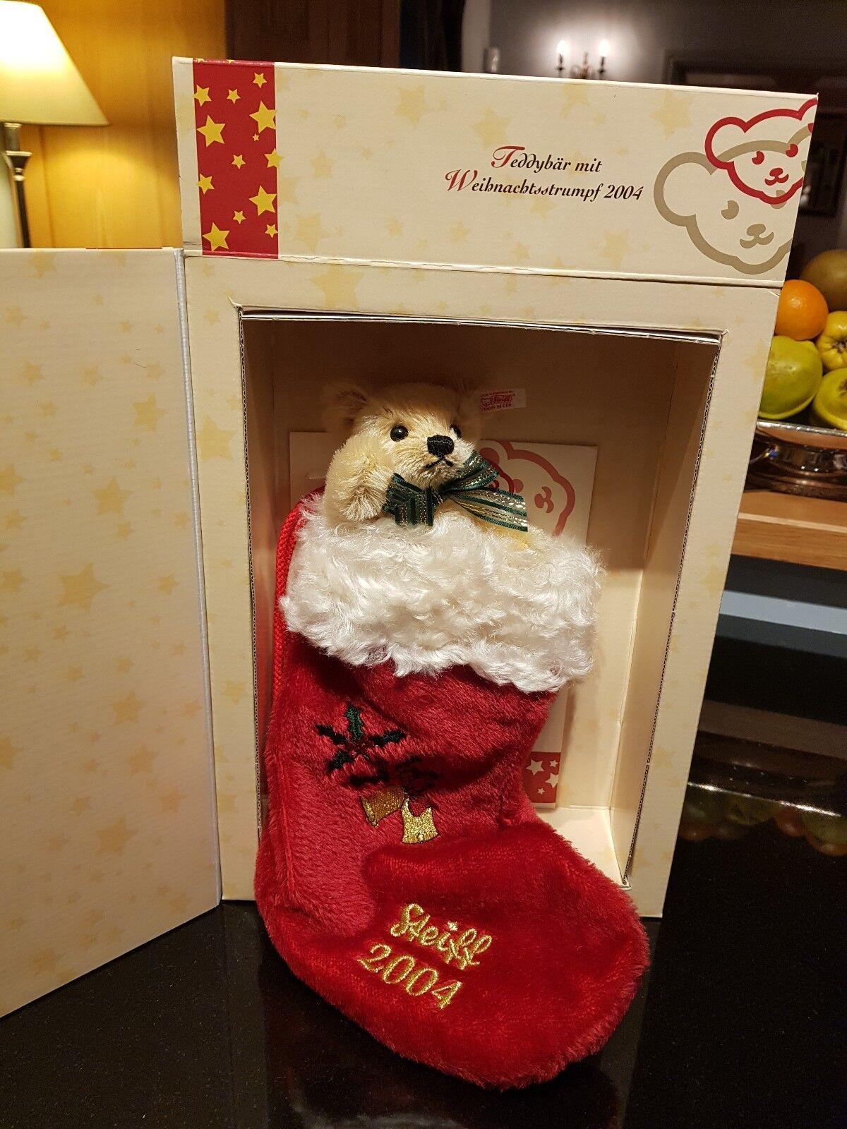 NEW Steiff Blond Mohair Bear In rot Mohair Christmas Stocking 2004 EAN 037740