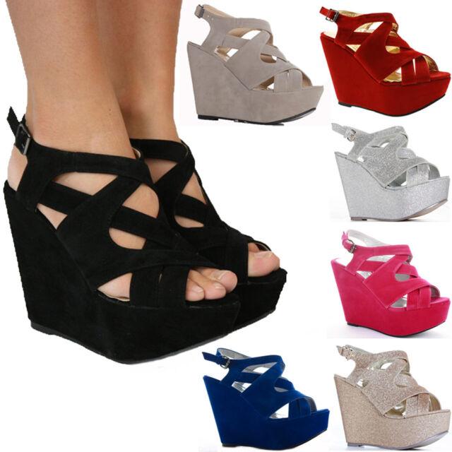 Ladies High Heel Wedges Womens Platform Strappy Peeptoe Wedge Sandals Shoes Size