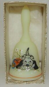 Fenton-Custard-Glass-Hand-Painted-Dog-on-Bell-Artist-Signed-MIB