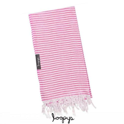 Loopys Pink and White Stripe Super Light Turkish Towel for Beach Bath Travel