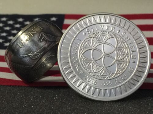 Pure Silver Coin Ring 999 1oz Don/'t Tread On Me Gadsden