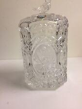 Vintage German HOFBAUER Crystal Glass   Bird Barrel CANDY Jar + Lid Orig Label