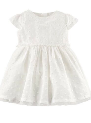 Details about  /Girl/'s CARTER/'S Exquisite White Polka Dot Dress   Sizes 12M or 24M NWT
