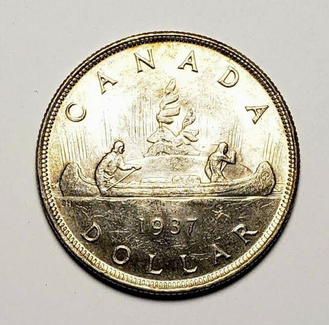 Canada 1937 Silver $1.00 One Dollar Coin