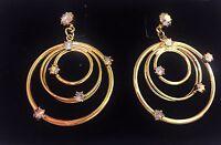Avon Vintage Pierced Earrings Holiday Festive Earrings W/ Rhinestone 1998