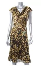 Anne Klein Cowl Neck, Animal Print Sheath Dress Wear to Work Cocktail Size 14