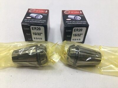 """15//32/"""" New Techniks SYIC ER-20 Spring Collets 2 Lot Of"""