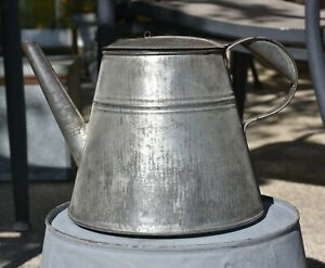 Antique-Early-Soldered-Tin-Coffee-Tea-Pot-Primitive-w-Great-Patina
