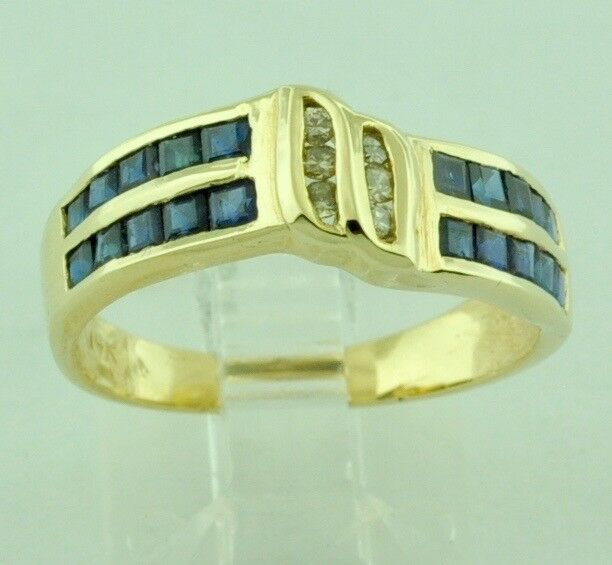 Pre owned 14k Yellow gold Natural bluee Sapphire & Champagne Diamond Ring 0.82 ct