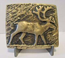 Vintage Elk Solid Brass Belt Buckle 1979 Anacortes Brass Works Buckles of Alaska