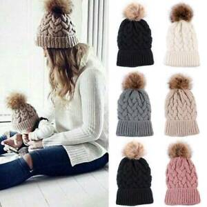 Fashion-Winter-Warm-Women-Chunky-Knitted-Crochet-Beanie-Hat-Fur-Pom-Ball-Ski-Cap