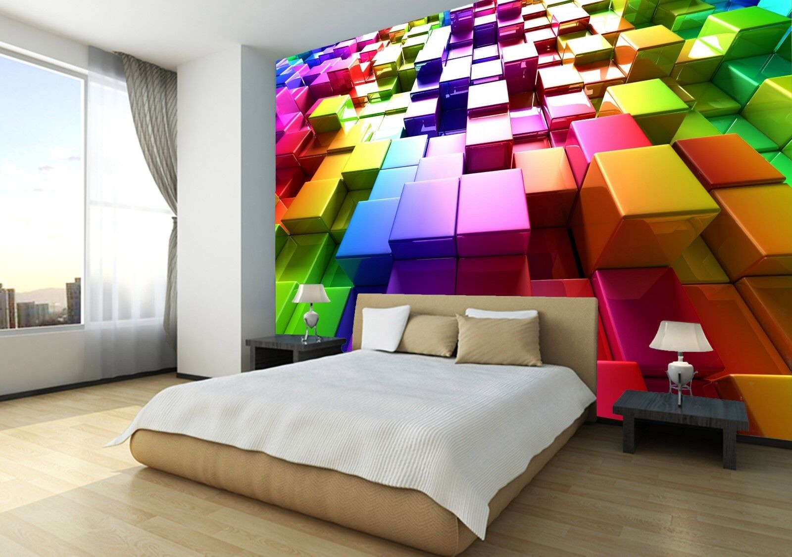 3D Rainbow Colours Cubes Wallpaper Photo Wall Mural Home Living Room Decoration