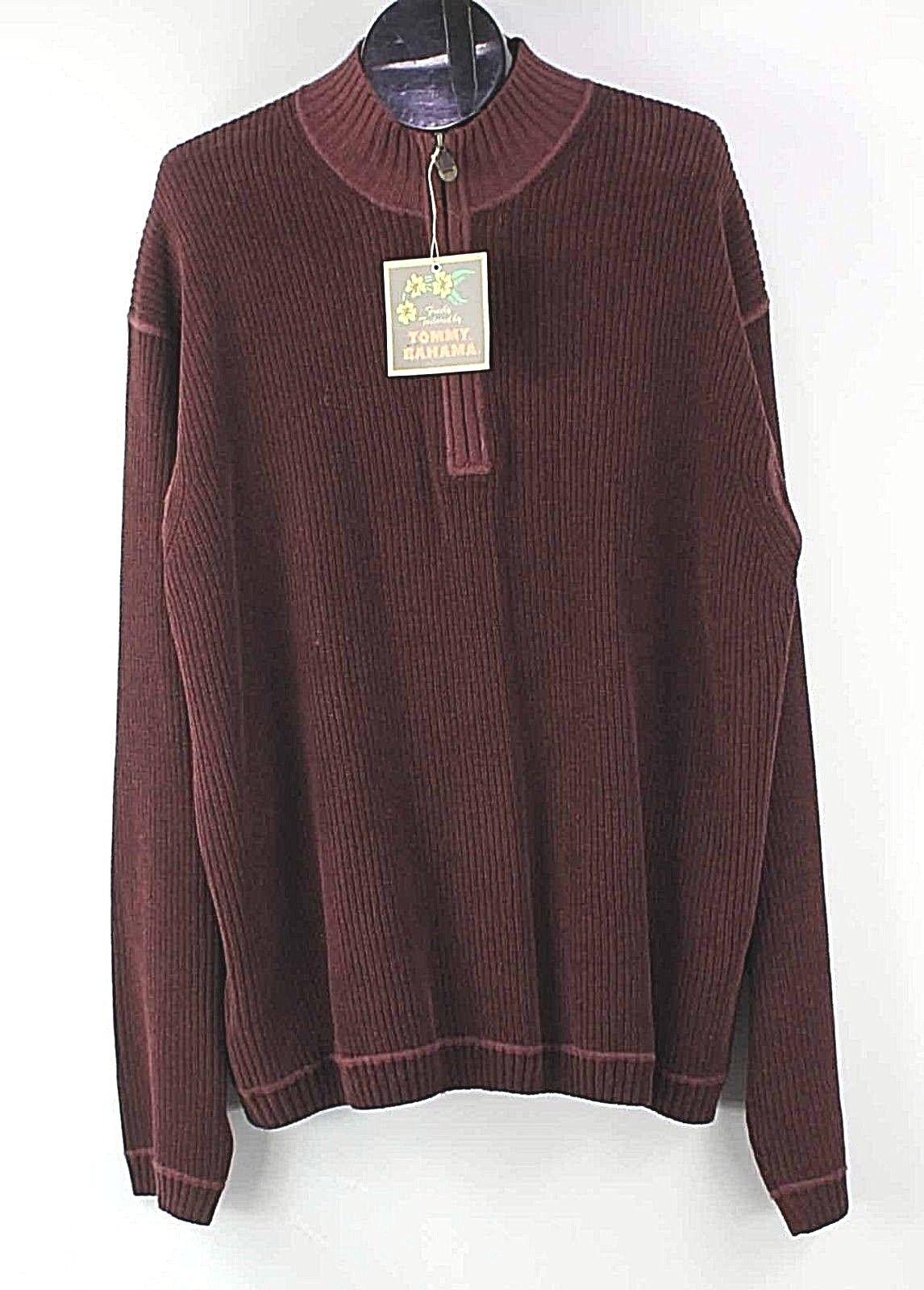 Tommy Bahama NEW Sz XXL Burgundy Cotton Chenille O Neil Half Zip Sweater F353