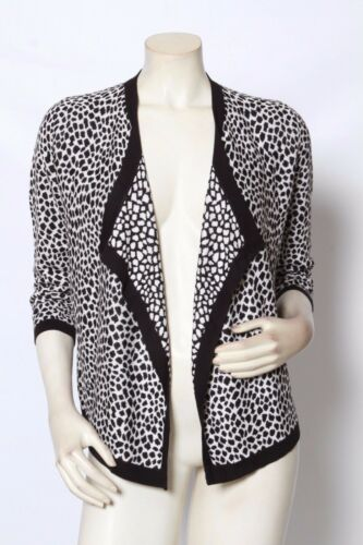 RONDINA Etcetera Black White Animal Print Open Front Knit Cardigan Sweater