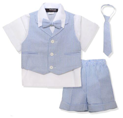 G286 Gino Giovanni Baby Toddler Boy Seersucker Summer Suit Vest Short Set