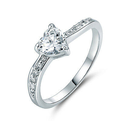 Stunning Paved Clear Sapphire Heart Crystal Silver Tone Lady Party Banquet Rings