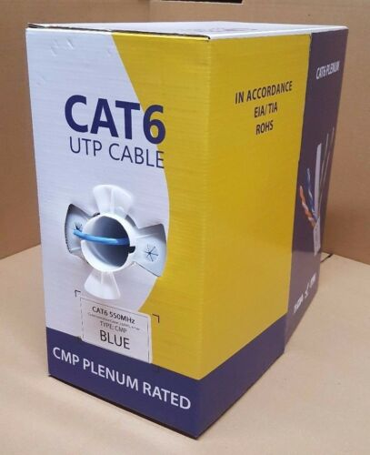 White 1000ft Cat5e Plenum Black Cat6 CMP Bulk Cable Blue