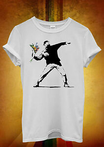Banksy Fleur Lanceur Hipster Hommes Femmes Unisexe T Shirt Débardeur Débardeur 456-afficher Le Titre D'origine