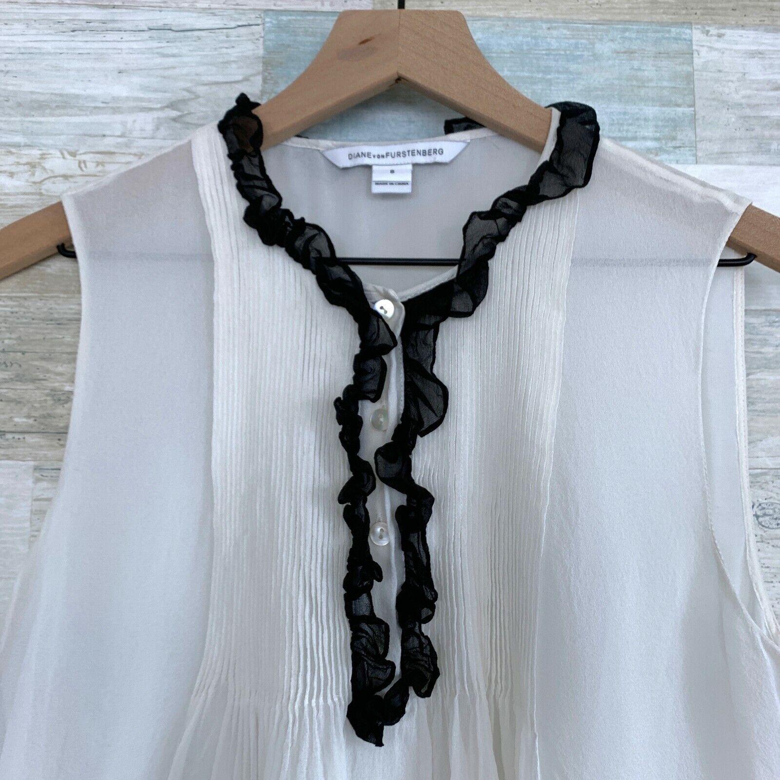 Diane Von Furstenburg Betsy Silk Tuxedo Blouse Bl… - image 3