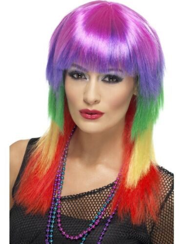 80/'s Multi-Coloured Rainbow Rocker Wig Adult Womens Smiffys Fancy Dress Costume