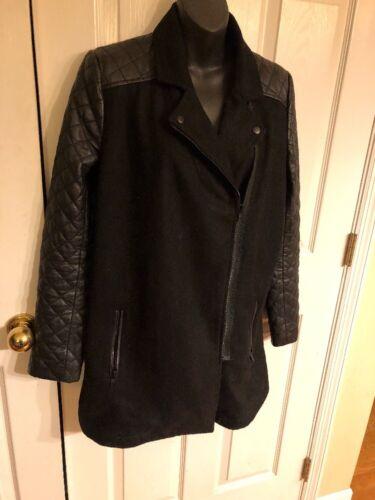 Mélange zippé matelassé véritable laine de asymétrique cuir en M manteau Veste Trouve Sz dHp8USq8
