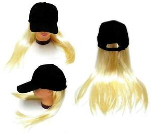 Image Is Loading Novelty Baseball Hat With Long Blonde Hair Costume