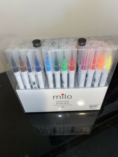 Milo Brush Pens 36 Colors for Watercolor Painting w Flexible Nylon Like Arteza