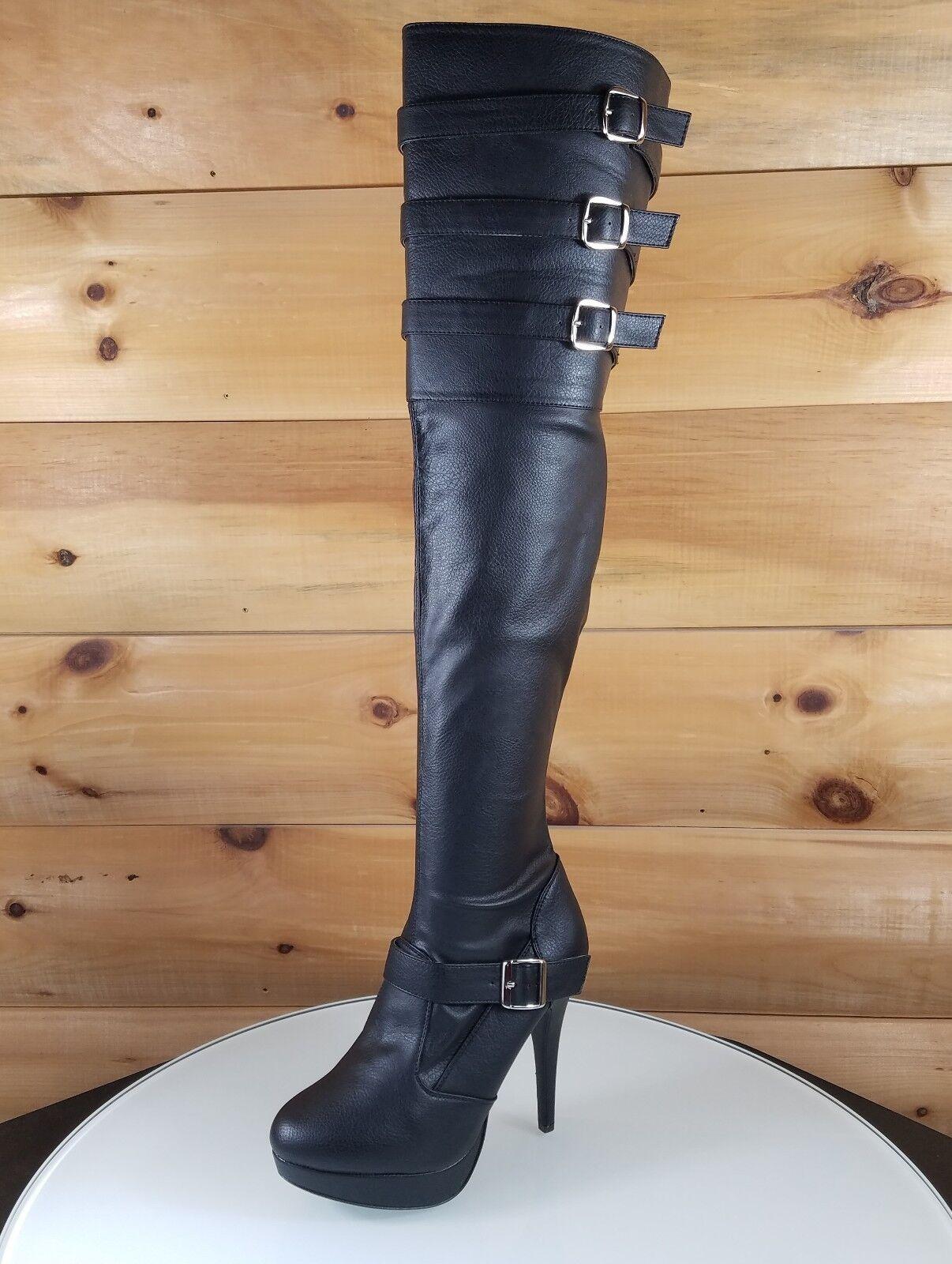 Chloe alto del muslo talla plus negro botas de eje de ancho Ancho de Cuero Sintético 9-16