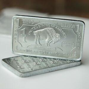 1oz zinc buffalo bullion bar