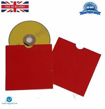 100 CD DVD Card board Wallet / Sleeves with Thumb Cut Red Blank NEW HQ AAA