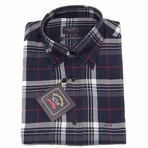 amp; camicia shirt PAUL flannel uomo 0066P lunga blu SHARK men manica wtqxdpOzdF