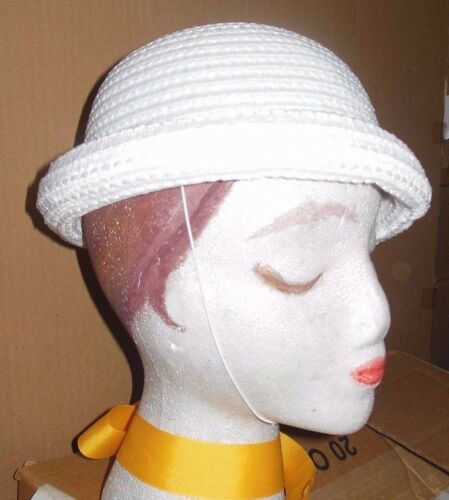"New Lot of 3 Child sz White Crochet rolledbrim straw dressy hats /""Sunday/"" #3359"