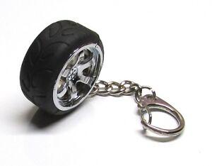 Chrome-RACING-Rubber-TIRE-on-Plastic-RIM-Wheel-KEY-CHAIN-Ring-Keychain-NEW