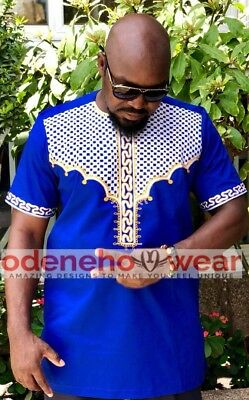 African Clothing Odeneho Wear Men/'s  Polished Cotton Top// Embroidery