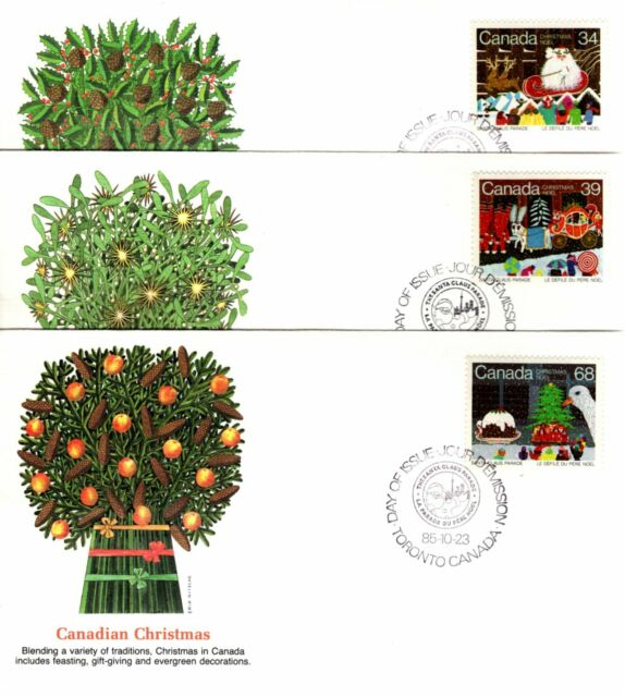 1985 #1067-9 Christmas Santa Claus Parade set of 3 FDC with Fleetwood cachet
