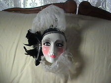 Berton Cello Madi Gra Mask Flapper Feathers Hand Crafted Italy, About Face Style