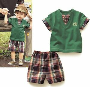 NEW-Baby-Toddler-Boys-Green-Tee-T-shirt-amp-Mix-Plaid-Shorts-Summer-SET-size-0-1-2