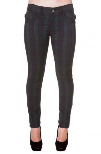 Pantaloni Banned Green TARTAN BLACK scozzesi a quadri malvagia Gothic Punk PANTS #3152 612