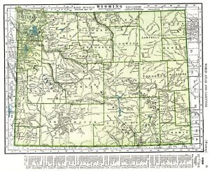 1947 Vintage WYOMING MAP Antique Map of Wyoming State Map Gallery ...